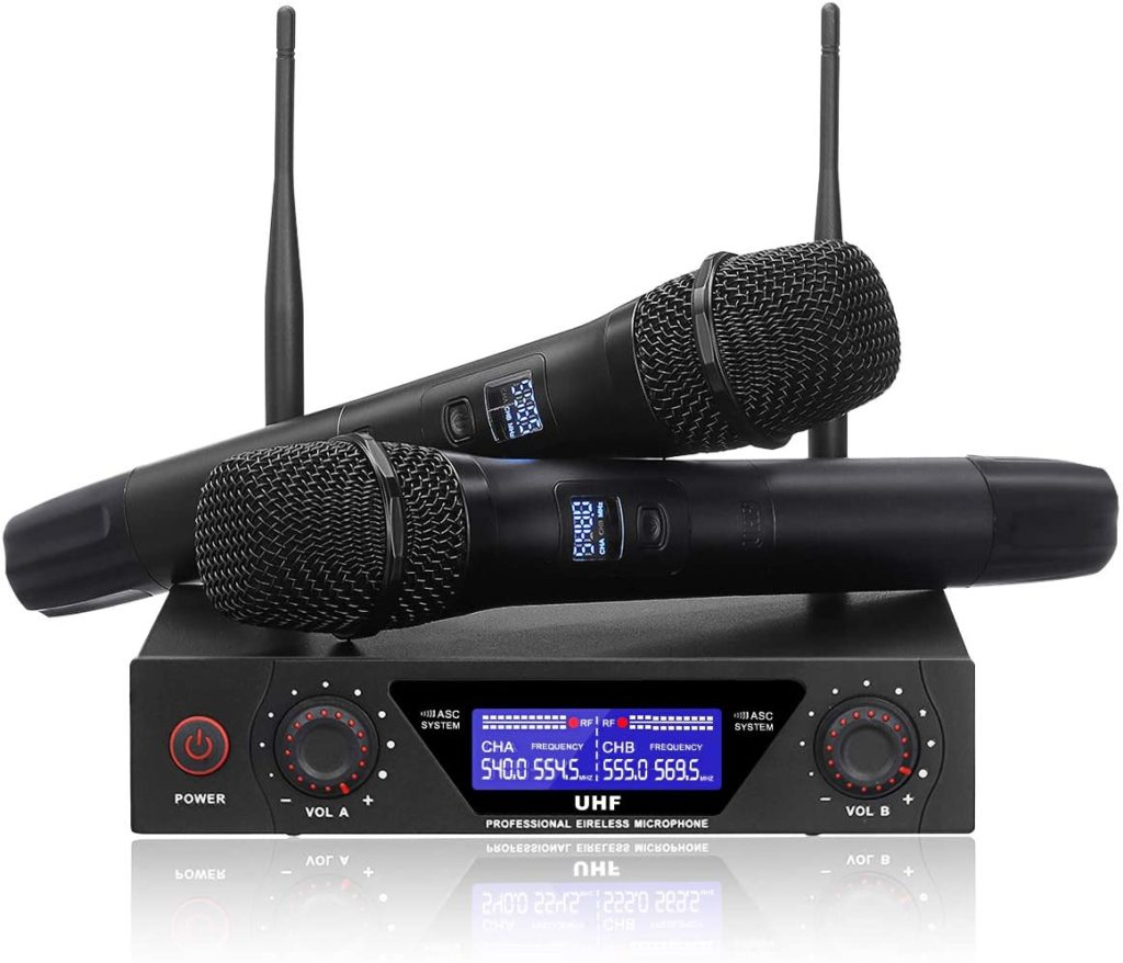 NASUM UHF Dual Channel Professional Handheld Wireless Microphone System