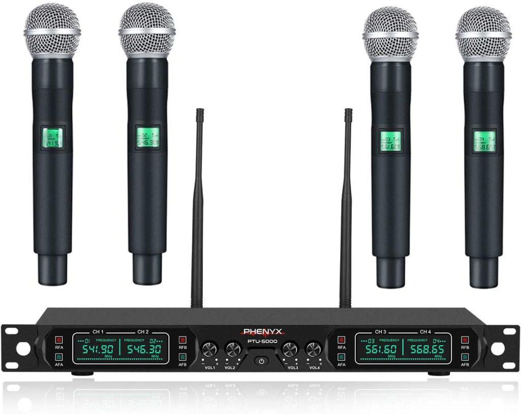 Phenyx Pro 4-Channel UHF Cordless Mic Set